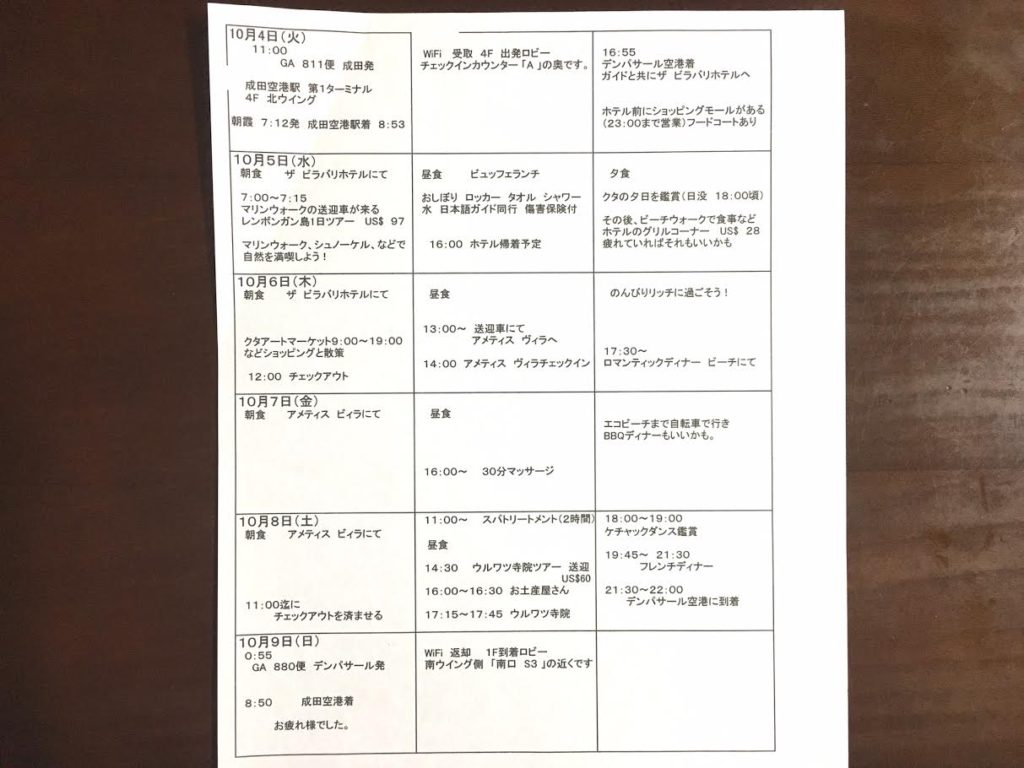 還暦(60代)バリ島旅行スケジュール
